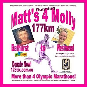 Matt's Marathons 4 Molly - Run from Bathurst to Ronald McDonald House